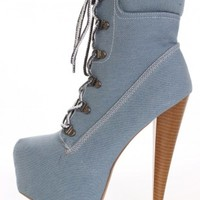 Blue Denim Lace Up Booties - Booties - Shoes