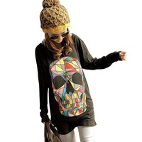 Zacoo Women's Colored Skull Cotton T-Shirt