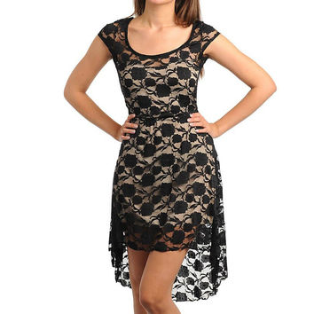 Lace Overlay Hi-Lo Dress in Black