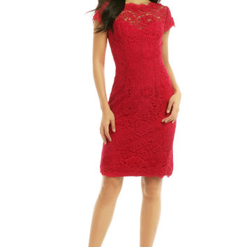ML Monique Lhuillier Sweet Candy Apple Sheath