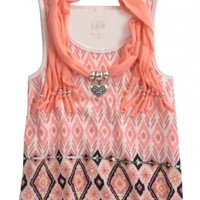 Jewelry Scarf 2fer Printed Tank