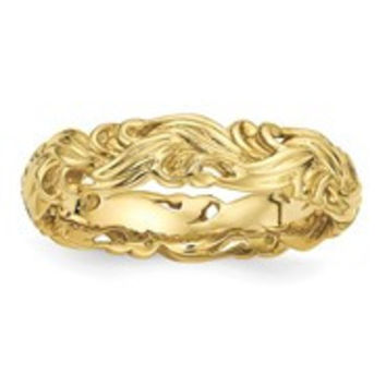 Gold Plated Sterling Silver Carved Band Ring, Size 10