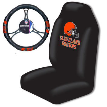 Cleveland Browns NFL Car Seat Cover and Steering Wheel Cover Set