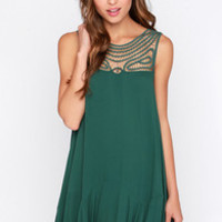 Black Swan Ornament Dark Green Shift Dress