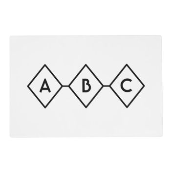 Black and White Retro Diamond Pattern Monogram Placemat