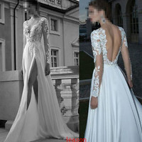 2014 New Deep V-Neck Backless Wedding Dress Applique Chiffon Berta Bridal Gowns