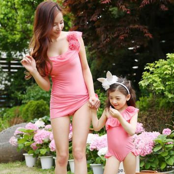 Pink Mother Daughter Swimsuit Flowers Kids Baby Children Bathing Beach Swimming Swimwear Bodysuit