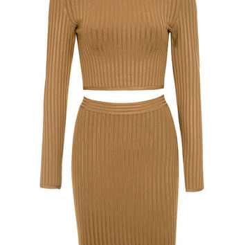 Clothing : 2 Pieces : 'Floradita' Tan Ribbed Bandage Two Piece