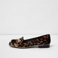 Brown leopard print tassel vlevet loafers - Shoes - Shoes & Boots - women