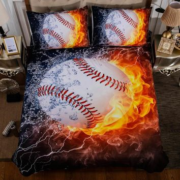Cool 3pcs/lot Baseball Printed Queen Comforter Sets Bedding King Twin Size Luxury Bed Cover Duvet Cover Sheet Set Linen Home TextilesAT_93_12