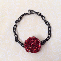 Resin Red Glitter Rose Black Chain Bracelet Filigree Ring (SALE)
