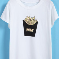 White Short Sleeve French Fries Print T-Shirt