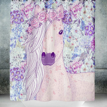 Boho Chic Horse Purple Floral  Shower Curtain  , Optional Bath Mat