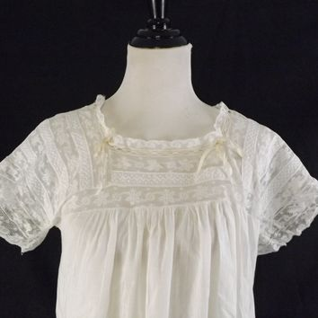 Vintage 1900s White Cotton and Lace Nightgown Under Garment Gown with Cream Ribbon
