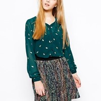 Yumi Golden Bird Blouse - Emerald