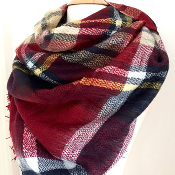 Red Plaid Blanket Scarf Oversized Zara Tartan Scarf Gift Ideas Accessories Bloggers Favorite Scarf