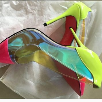 SJS lux rainbow hologram pumps