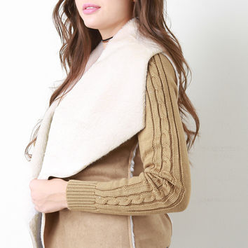Suede Open Front Mixed Media Jacket