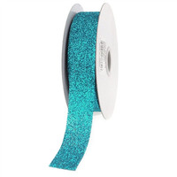 Glitter Ribbon Christmas Giftwrapping, 7/8-inch, 25-yard, Turquoise