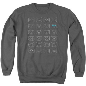 Adventure Time - Finn Faces Adult Crewneck Sweatshirt Officially Licensed Apparel