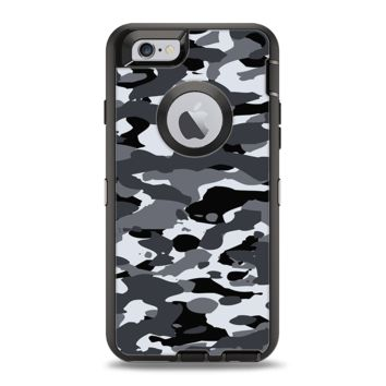 The Traditional Black & White Camo Apple iPhone 6 Otterbox Defender Case Skin Set