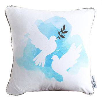 Hand Painted White Doves Decorative Throw Velvet Pillow w/ Silver & White Reversible Sequins   COVER ONLY (Inserts Sold Separately)