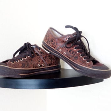 Vintage  Old School Brown Canvas TOOLED  Lace Up  Sneakers Shoes Flats Mens 8 Womens 9.5