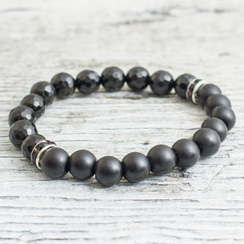 Matte black onyx and faceted onyx beaded stretchy bracelet, mens bracelet, womens bracelet