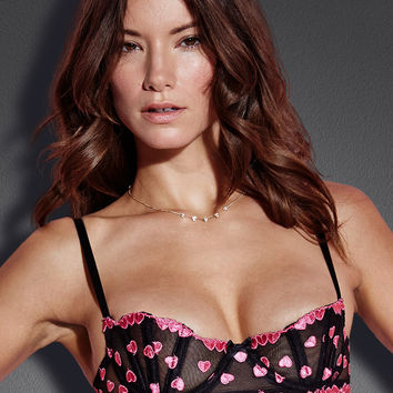 Embroidered Heart Fan Bra