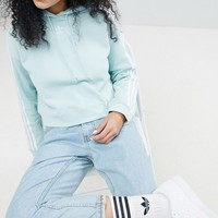 adidas Originals adicolor Three Stripe Cropped Hoodie In Mint at asos.com