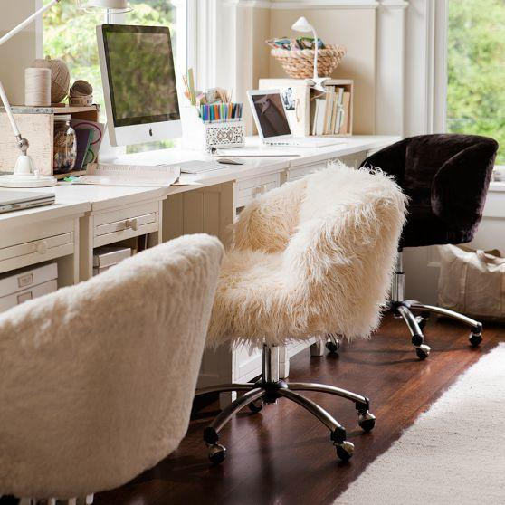 Ivory Sherpa Wingback Desk Chair From PBteen