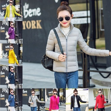 2016 Winter Ladies Padded Jacket Zipper Multiple Colors Quilted Women Slim [8833969612]