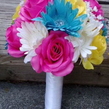 Wedding Bouquet Yellow Pink Malibu Blue Bouquet, Yellow Bouquet, Malibu Blue Bouquet, Yellow Bouquet, Pink Bouquet, Bouquet, Bridal Bouquet