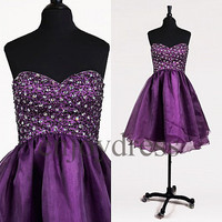 Custom Purple Beaded Short Tulle Prom Dresses Evening Dress Lovely Party Dress Ball Gowns Bridesmaid Dresses 2014 Homecoming Dresses