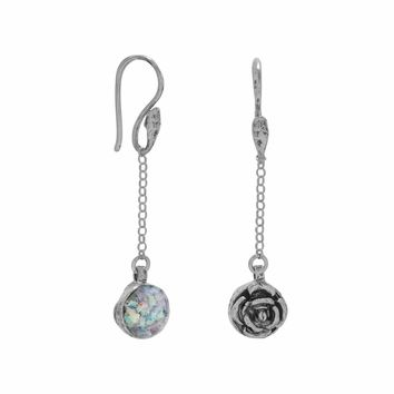 Reversible Ancient Roman Glass and Flower Drop Earrings