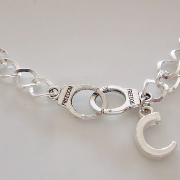 Partner in crime bracelet, Partner in crime, handcuffs bracelets, initial bracelet, friendship Gift