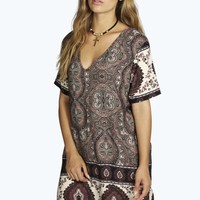Plus Kayla Printed V Neck Shift Dress