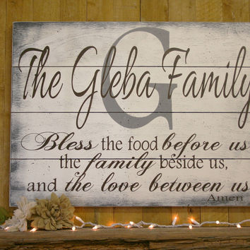 Bless The Food Wood Pallet Sign Kitchen Wall Decor Dining Room Wall Decor Home Decor Shabby Chic Decor Wall Art Distressed Wood Sign