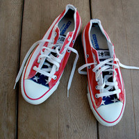 Vintage American Flag Converse All Star Sneakers - Made in the USA - Stars and Bars 80s 4th Fourth of July