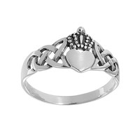 Sterling Silver Celtic Claddagh Ring (Grey)