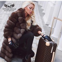 New Brand Winter Real Blue Fox Fur Coat Thick Warm Women's Brown Long Jacket The fox fur Coat Real Fur Parka  free shipping