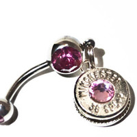 Glitz Your Hitch- Bullet Belly Button Ring - Pink