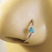 Aqua Blue Crystal Nose Hoop or Cartilage Hoop Ring