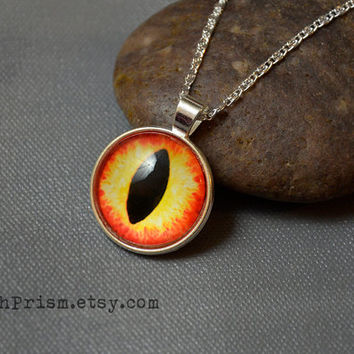 Orange Yellow Eye Necklace | Animal Eye Necklace | Cat Eye | Dragon Eye | Iris Pendant Necklace | Silver Chain Necklace