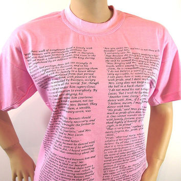 Pride and Prejudice T Shirt PINK Hand Printed Jane Austen Book Romantic Book Text T Shirt Pima Peruvian Cotton