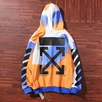 Off White New fashion letter cross arrow print couple contrast color  hooded long sleeve sweater