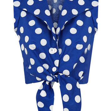 The Tie-front Shirt - Blue with White Spots