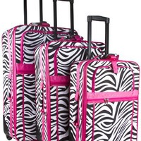 Pink Trim Zebra 3 Piece Luggage Set