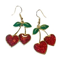 Sparkly Cherry Heart Earrings