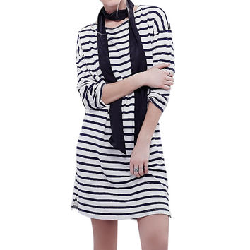 2016 Autumn Winter Women Sets Fashion Women Striped Long Sleeve Midi Casual Office Clothing Elegant Slim Bandage Dresses